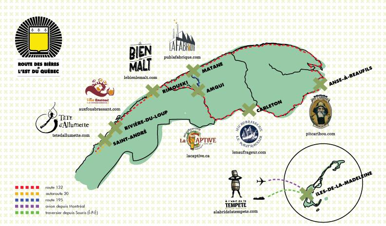La route des bières de l'est du Québec